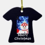 Diseño ESCARCHADO del ornamento del muñeco de niev Ornamento Para Reyes Magos