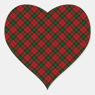Diseño escocés del tartán del clan de Kerr Pegatina En Forma De Corazón