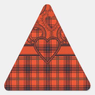 Diseño escocés del tartán del corazón de Wemyss Calcomania Triangulo