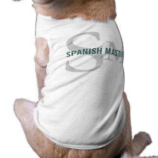 Diseño español del monograma de la raza del mastín camisetas de perro
