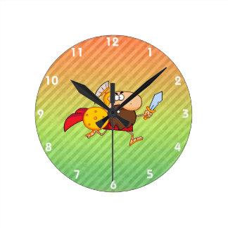 Diseño espartano del gladiador reloj redondo mediano