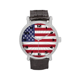 Diseño especial patriótico de la bandera americana reloj