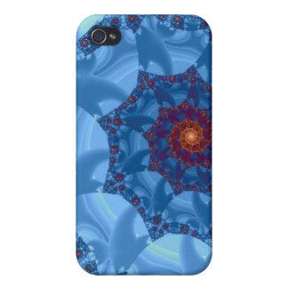 Diseño espiral azul bonito del carámbano iPhone 4 funda