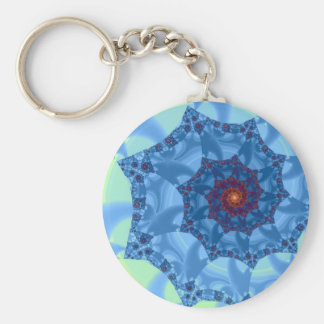 Diseño espiral azul bonito del carámbano llavero redondo tipo pin