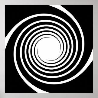 Diseño espiral blanco y negro póster