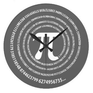 Diseño espiral del símbolo del pi reloj redondo grande