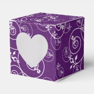 Diseño espiral en tela púrpura cajas para regalos
