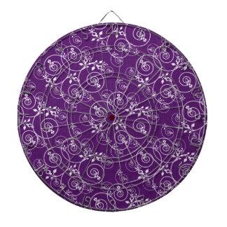 Diseño espiral en tela púrpura tablero de dardos