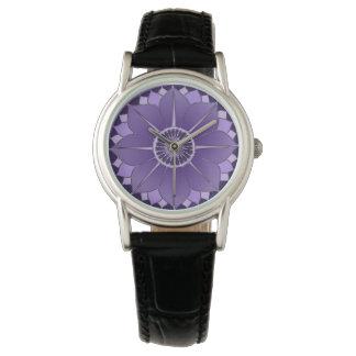 Diseño espiritual púrpura de la mandala de Boho de Relojes De Mano