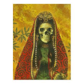 Diseño esquelético de la bruja tarjeta postal