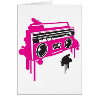 diseño estéreo del arenador retro del ghetto tarjeta de felicitación