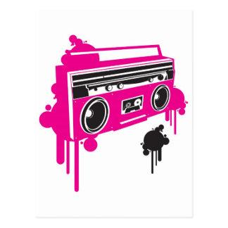 diseño estéreo del arenador retro del ghetto tarjeta postal