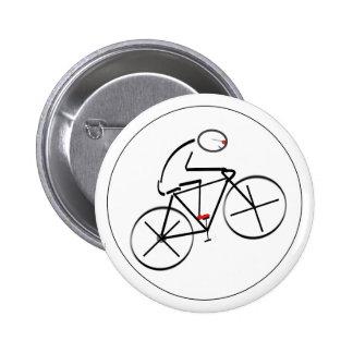 Diseño estilizado del Bicyclist Pin Redondo De 2 Pulgadas