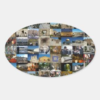 Diseño Exclusivo 100 Faces de Jerusalém Calcomania Ovalada