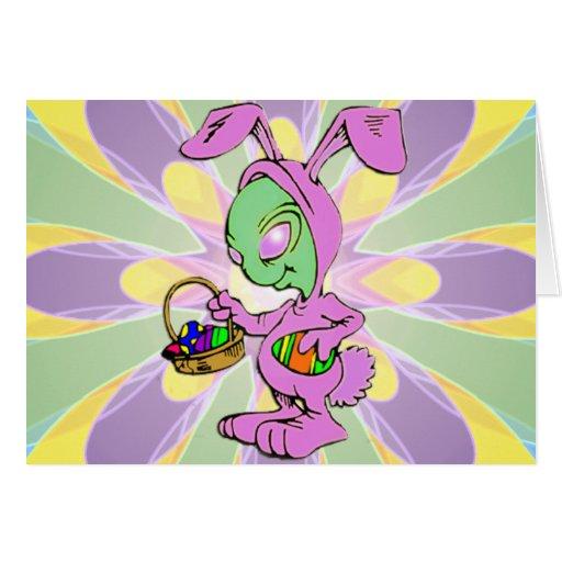 Diseño extranjero del conejito de pascua de la tarjeta de felicitación