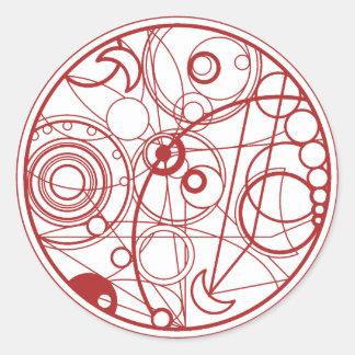 Diseño extranjero rojo pegatina redonda
