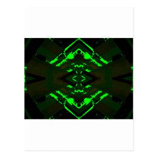 Diseño extranjero verde extraño postal