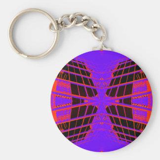 Diseño extremo púrpura anaranjado brillante altame llavero redondo tipo pin