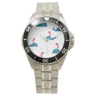 Diseño fabuloso de la ballena azul con los reloj de mano