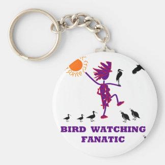 Diseño fanático de la observación de pájaros llavero personalizado