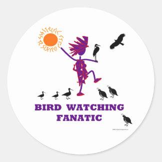 Diseño fanático de la observación de pájaros pegatina redonda