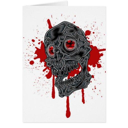 Diseño fantasmagórico con todo torpe del cráneo de tarjetas