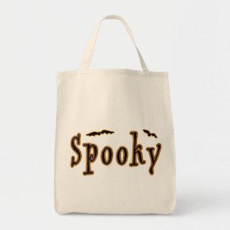 Diseño fantasmagórico de Halloween de los palos Bolsa Tela Para La Compra