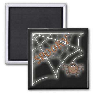 Diseño fantasmagórico de Halloween del Web de arañ Imán Cuadrado