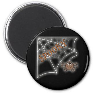Diseño fantasmagórico de Halloween del Web de arañ Imán Redondo 5 Cm