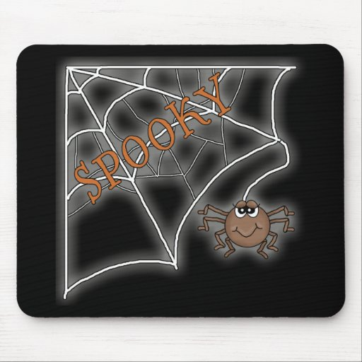 Diseño fantasmagórico de Halloween del Web de arañ Alfombrillas De Raton