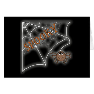 Diseño fantasmagórico de Halloween del Web de arañ Tarjetas