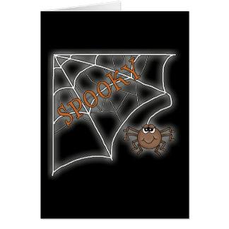 Diseño fantasmagórico de Halloween del Web de arañ Tarjeton