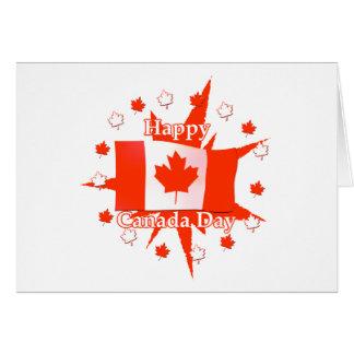 Diseño feliz de la bandera del día de Canadá Tarjetón
