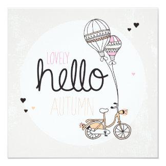 """Diseño feliz de la postal del otoño invitación 5.25"""" x 5.25"""""""