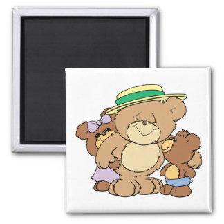 diseño feliz de los osos de peluche del día de pad imán cuadrado