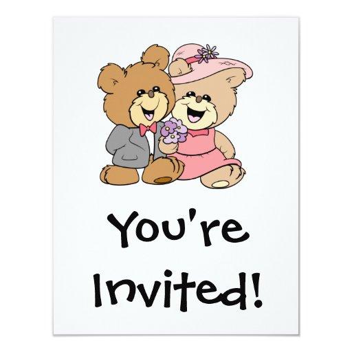 diseño feliz de los pares del oso de peluche invitación 10,8 x 13,9 cm