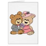 diseño feliz de los pares del oso de peluche tarjeta de felicitación