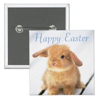 Diseño feliz de Pascua del conejito lindo del bebé Pin Cuadrado