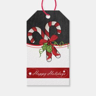 Diseño feliz del bastón de caramelo del día de etiquetas para regalos