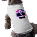 Diseño feliz del cráneo del azúcar camiseta de mascota