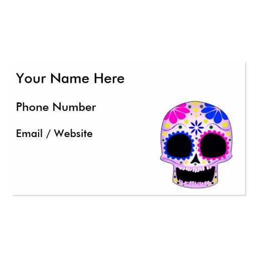 Diseño feliz del cráneo del azúcar tarjetas de negocios
