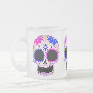 Diseño feliz del cráneo del azúcar taza de cristal