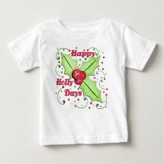 Diseño feliz del navidad de los días del acebo playera de bebé