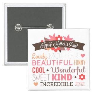Diseño feliz del texto del día de madre pin cuadrado