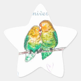 Diseño feliz del watercolour de los lovebirds del pegatina en forma de estrella