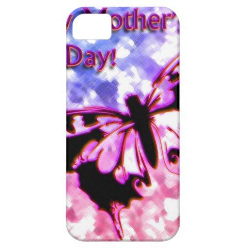 Diseño feliz rosado del día de madre iPhone 5 protector