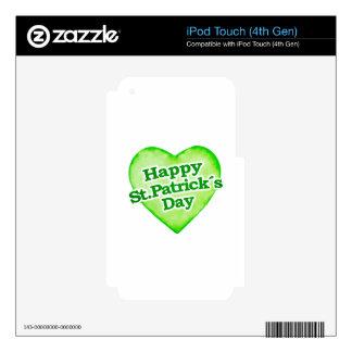 Diseño feliz único del día de los ´s de St Patrick Calcomanías Para iPod Touch 4G