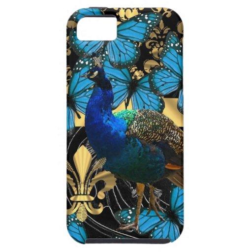 Diseño femenino bonito del pavo real funda para iPhone 5 tough