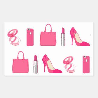 Diseño femenino de las cosas pegatina rectangular