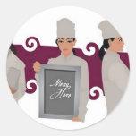 Diseño femenino del cocinero pegatinas